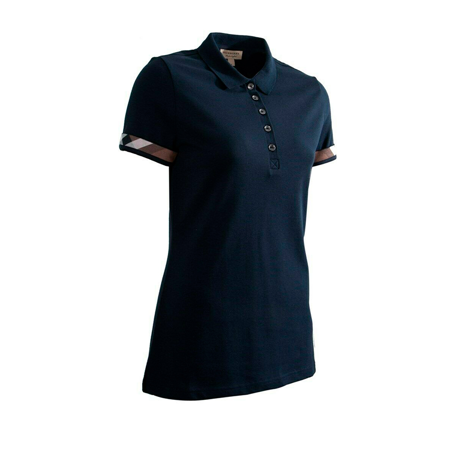 Burberry women's black,navy check trim stretch pique polo shirt