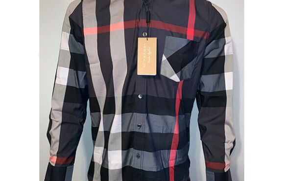 Burberry brit men's navy long sleeve button down exploded check shirt
